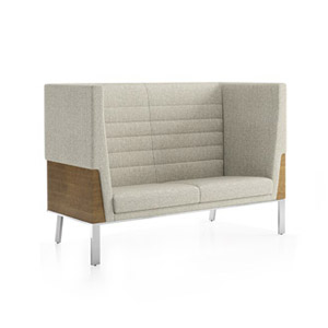 Ava Wood High Back Two Seat Sofa